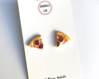 Scented Pepperoni Pizza - Earrings, Cufflinks, Charm or Stitch Marker.  You favourite miniature food that you can wear!