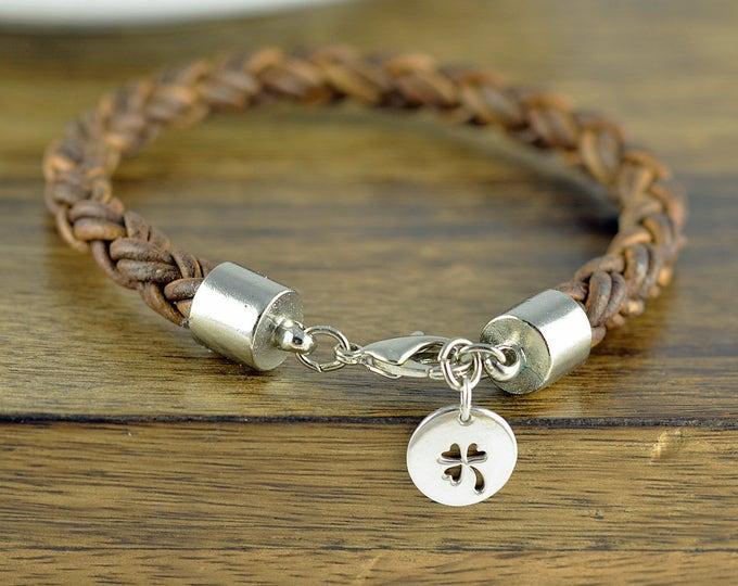 Mens Leather Bracelet - Mens Charm Bracelet - Mens Bracelet - Mens Gift - Lucky Bracelet - Four Leaf Clover Jewelry - Lucky Charm Bracelet