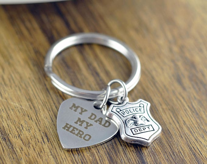 My Dad My Hero KeyChain, My Daddy is a Police Officer KeyChain, My Daddy is My Hero, Dad Hero Gift, Father Gift, Police Officer Gifts