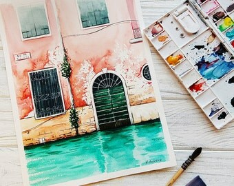 Original watercolor painting Venice, Italy, Aquarelle, Home decor, Christmas gift, Watercolor painting, FREE SHIPPING WORLDWIDE