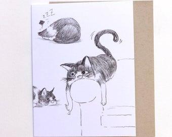 Lazy Cat Greeting Card