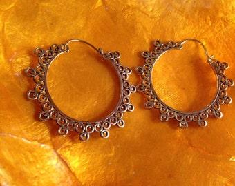 Tribal dot hoop earrings