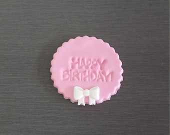 6 x Happy Birthday toppers,  Edible birthday toppers, fondant toppers