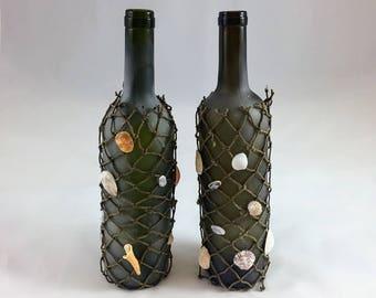 Green Frosted Fishing Net Wine Bottle Set// wine bottle decor // bottle centerpiece // twine vases // bottle decorations // wedding bottles