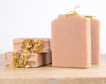 Vegan Soap - Rose Geranium & Lavender Essential Oils with Colloidal Oatmeal and French Pink Clay - 'English Garden' Handmade Natural Soap