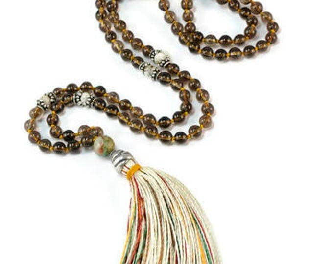 Smoked Quartz & Lemon Crysoprasio Mala Necklace Boho . Yoga. Meditation. Ideas for her. Boho Jewelry. Bohemian Necklace. Tassel Necklace