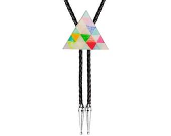 Bolo Tie - Geometric Colours