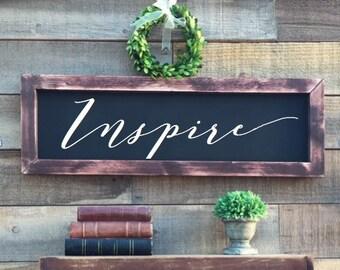Inspire framed chalkboard, rustic home decor