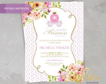 Crown Cinderella Baby Shower invitation / Princess,digital baby shower invitation, crown invitation,girl