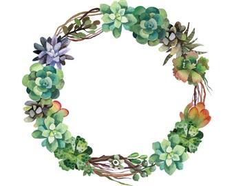 Watercolour Succulent Flower Wreath Clip Art Digital Download PNG Vector AI High Resolution Q65