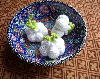 Crochet garlic, crochet vegetables, play food, pretend play, kitchen decoration, eco friendly, toy for toddlers