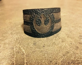 Womens Leather Cuff - Genuine Leather - Starwars gift - Geek gift - Rebel Jewelry