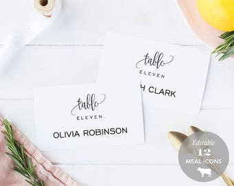 Wedding Place Card Printable, Place Card Template, Meal Choice Selection, Table Number Name Card Seating Card Instant Download PDF #SPP013pc
