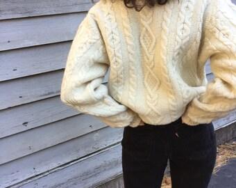 Ivory 100% Wool Hand-Knit Irish Aran Sweater / Minimalist Fishermen's Crewneck Sweater