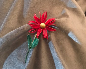 Vintage Sandor co. Enameled red daisy