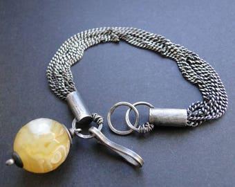 Raw agate bracelet, silver agate bracelet, yellow agate bracelet
