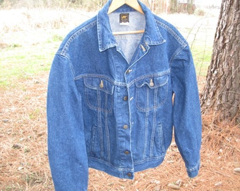 Vintage Lee Riders Blue Denim Jean Jacket Size 44 R Vintage Jean Jacket