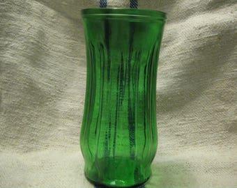 Free Shipping Vintage Flower Vase Emerald Glass Vase Wedding Decor Shower Decor Green Vase Green Glass Decor Retro Green Glass Vintage