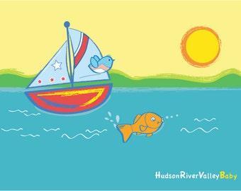 Art Print, Baby Boy Art Print---Sailboat, Fish, Hudson River