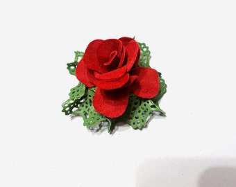 Brooch rose red genuine leather