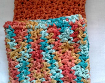 Orange Cotton Crochet Dry Duster Cover; Multi-color Dry Mop Pad; Two-Piece Dry Duster Set; Resuable Dry Floor Duster Cover