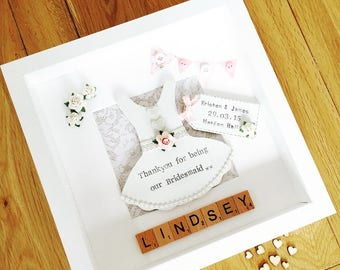 Handmade Personalised Thank you for being our Bridesmaid Picture Frame