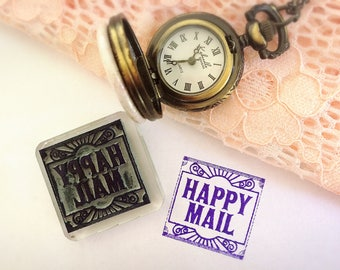 Happy Mail Stamp ~ square rubber stamp, art deco, penpal, snail mail, happy post, gatsby party, flapper theme, 1920s, 1930s, pen pal stamps