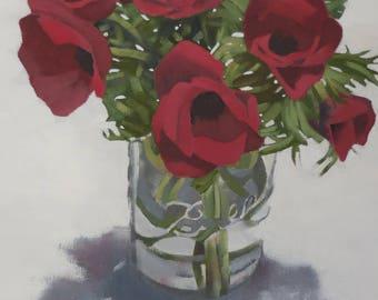 Ladies in Red, Red Anemones flower art,fine art print, floral art, red flowers art,8x10 giclee print