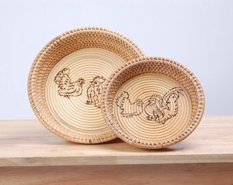 Rattan Tray, Thai handmade, made from natural, Circle