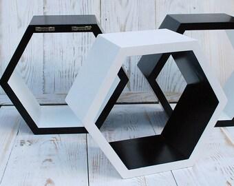 ALL SIZES Set of 3 hexagon shelves,wall shelves,geometric shelf,wooden hexagon shelf,Deep wooden hexagonal shelf,white black hexagon shelves