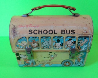 1960s Walt Disney Metal School Bus Lunch Box by Alladin Industries without Thermos
