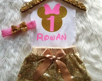 Minnie Mouse Birthday Outfit 1st Birthday Shirt Pink Gold Minnie First Birthday Girl Disney World 1 Birthday Shorts Personalized Birthday