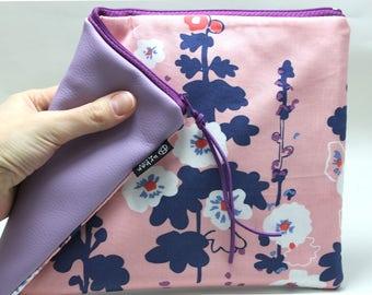 Tablet case, tablet cover, graduation gift, reader case, reader sleeve, floral clutch, cosmetic organizer, makeup bag, travel organizer