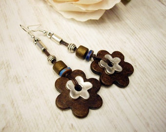 Beaded Flower Earrings Long beaded Earrings Boho beaded Earrings Ceramic Flower Earrings Hippie Summer earrings dangle flower earrings