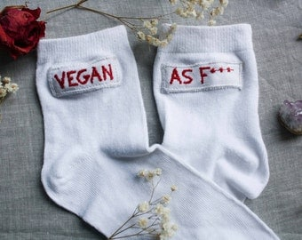 Socks with embroidered patch - Vegan as F***