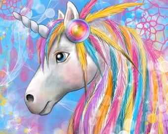 Indian Unicorn fabric coupon