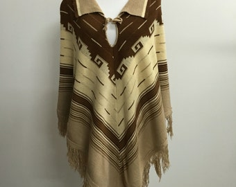 1970s Brown & Tan Knit Shawl Poncho - One Size Fits All