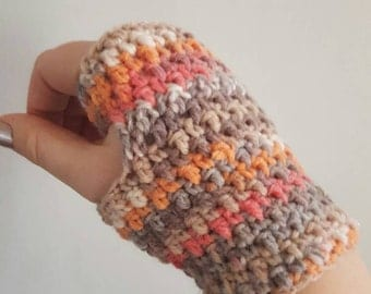 Handmade crocheted wrist warmers /fingerless gloves