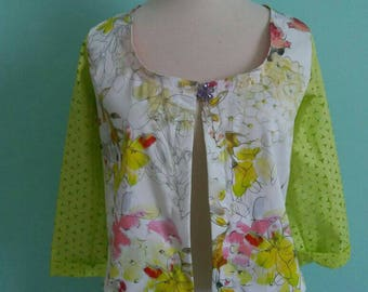 Spring Jacket,jewel botton jacket,yellow flower jacket,white jacket, flower jacket,yellow jacket