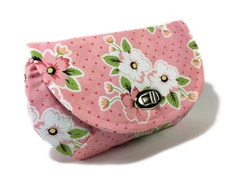 Women's floral clutch pink purse pink clutch purse with zipper pocket nickel twist lock closure evening clutch small bag