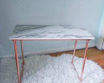 Copper and Marble Style Coffee/Side Table