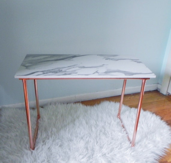 Marble Coffee Table With Copper Legs: Copper And Marble Style Coffee/Side Table