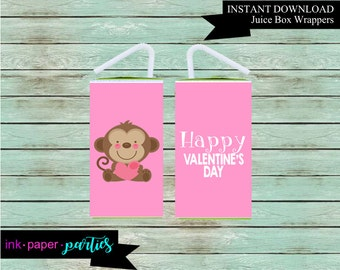 Printable Valentine's Kids Valentine Day Monkey Juice Box Wrappers Party Favors Favor Labels Digital File Instant Download