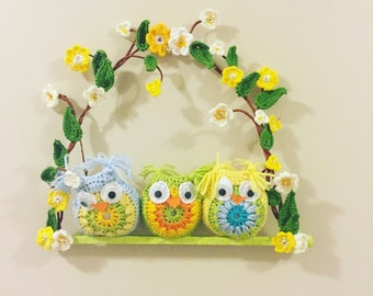 Owl decor , owl wall hanging , owl wall art , wall art , garden ornements , owl art , garden decoration