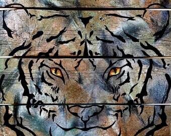 TIGER PAINTING,Tiger Art,Tiger Decor,Rustic Tiger Decor,Tiger Wall Art,Tiger Wall Decor,Painting on Wood,Big Cat Art, Animal Art,Tiger