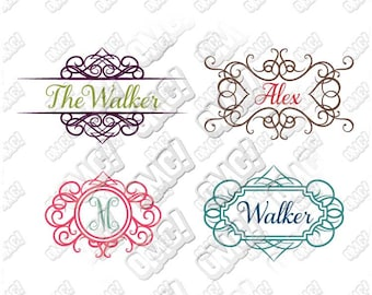 Swirly Decorative Frame Monogram svg dxf eps jpeg format layered cutting files download clipart die cut decal vinyl cutter cricut silhouette
