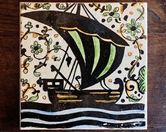 Medieval sailboat (SMALL) Hand painted decorative tile Socarrat style