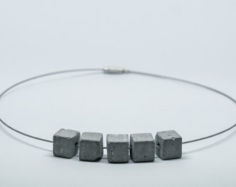 Necklace Choker cement cubes   light   round neck cable