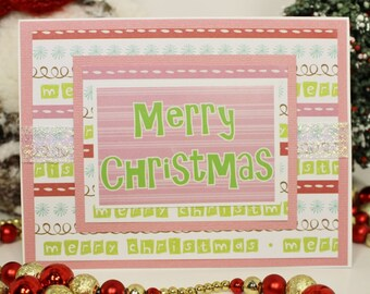 Christmas, Cards, Hand Made, A2, 4.25x5.50, Pink, White, Layers, Merry, Iridescent Ribbon, Sticker, Patterned Paper