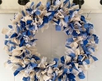 Blue and White Wreath, Hanukkah Wreath, Hanukkah Decoration, Holiday Wreath, Door Wreath, Holiday Decoration, Rag Wreath, Handmade Wreath
